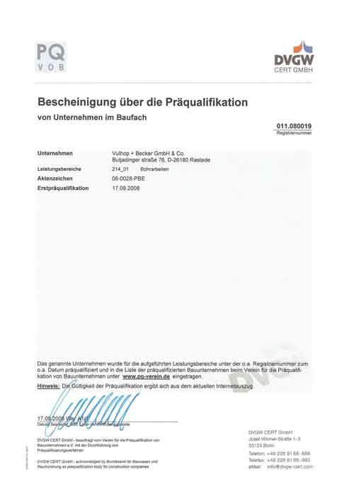 Präqualifikation-Zertifikat